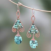 Gold accented copper and reconstituted turquoise beaded dangle earrings, 'Bohemian Fascination' - Gold Accented Copper and Recon. Turquoise Earrings