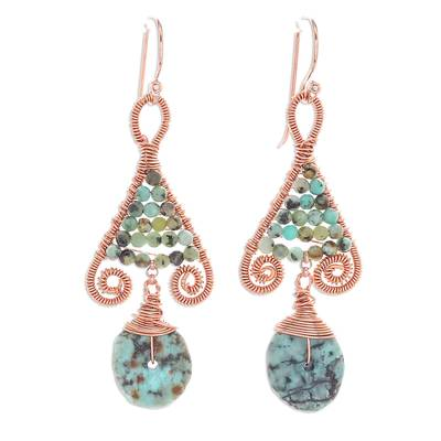 Gold Accented Copper and Recon. Turquoise Earrings