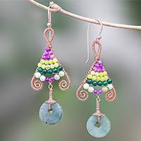 Gold accented multi-gemstone beaded dangle earrings, 'Bohemian Fascination'