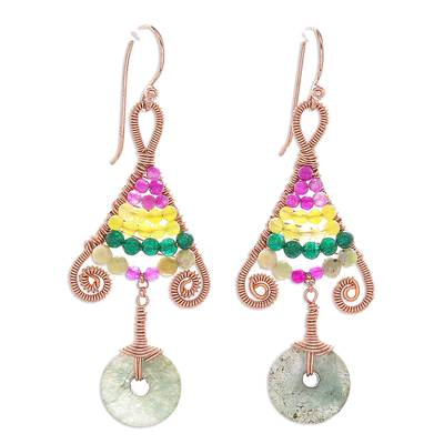 Gold accented multi-gemstone beaded dangle earrings, 'Bohemian Fascination' - Gold Accented Multi-Gemstone Dangle Earrings from Thailand