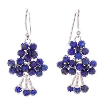 Lapis Lazuli Beaded Dangle Earrings form Thailand