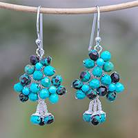 Sterling silver and calcite beaded dangle earrings,