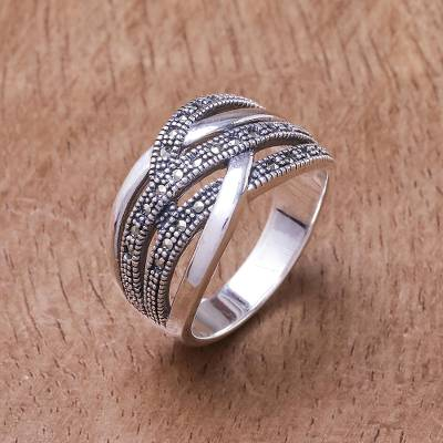 Sterling silver band ring, 'Still Enamored' - Sterling Silver and Marcasite Band Ring from Thailand