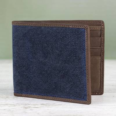 Cotton and leather wallet, 'Stylish Shopper in Blue' - Cotton and Leather Wallet in Blue from Thailand