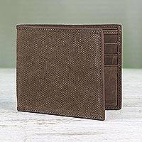 Cotton and leather wallet, 'Stylish Shopper in Brown' - Cotton and Leather Wallet in Brown from Thailand