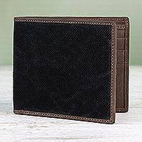 Cotton and leather wallet, 'Stylish Shopper in Black' - Cotton and Leather Wallet in Black from Thailand