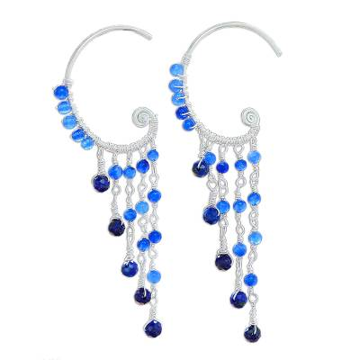 Lapis Lazuli and Quartz Waterfall Earrings from Thailand
