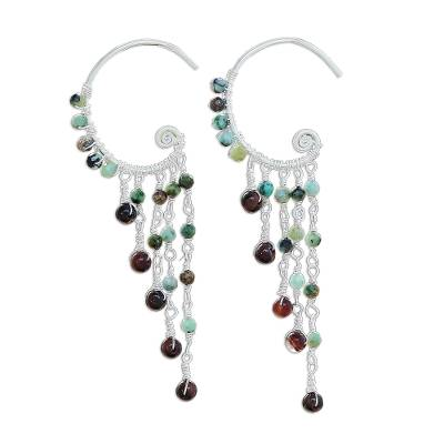 Tiger's eye and reconstituted turquoise beaded waterfall earrings, 'Crescent Waterfall' - Tiger's Eye and Reconstituted Turquoise Waterfall Earrings
