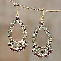 Gold plated jasper and reconstituted turquoise waterfall earrings, 'Beautiful Dew'