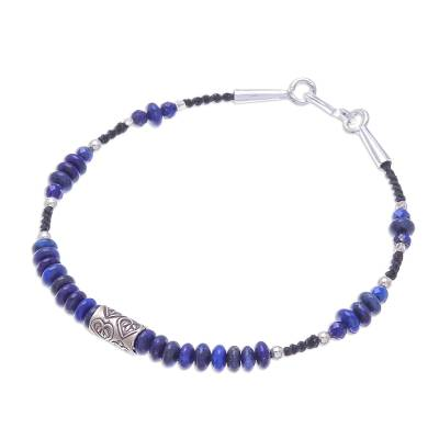 Lapis lazuli beaded bracelet, 'Lover of Night' - Heart Motif Lapis Lazuli Beaded Bracelet from Thailand