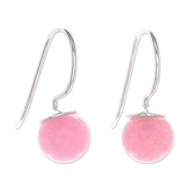 Round Rose Quartz Drop Earrings from Thailand