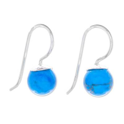 Sterling silver and reconstituted turquoise drop earrings, 'Beautiful Orbs' - Sterling Silver and Recon. Turquoise Drop Earrings