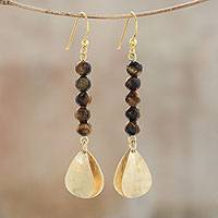 Tiger's eye dangle earrings, 'Earthen Glimmer' - Tiger's Eye Beaded Dangle Earrings from Thailand