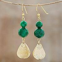 Quartz dangle earrings, 'Green Glimmer' - Green Quartz Beaded Dangle Earrings from Thailand