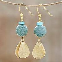 Jade dangle earrings, 'Golden Ancient'