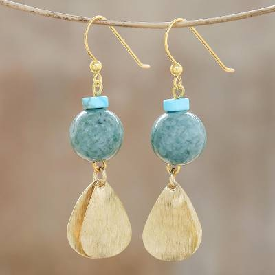 Jade dangle earrings, 'Golden Ancient' - Jade Dangle Earrings Crafted in Thailand