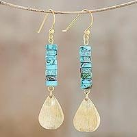 Brass and reconstituted turquoise dangle earrings, Sea Gold