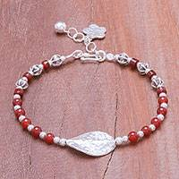 Carnelian beaded pendant bracelet, 'Fiery Hill Tribe' - Carnelian Beaded Pendant Necklace from Thailand