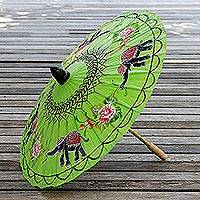 Paper parasol, 'Elephant Parade in Lime' - Elephant Motif Paper Parasol in Lime from Thailand