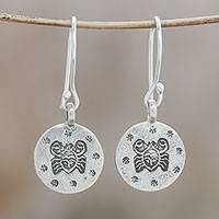 Silver dangle earrings, 'Karen Cancer' - Karen Silver Cancer Dangle Earrings from Thailand