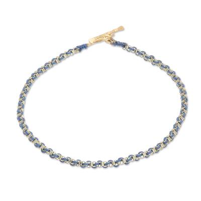 Gold Plated Brass Chain Bracelet in Blue from Thailand
