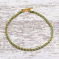 Gold plated brass chain bracelet, 'Golden Day in Green'