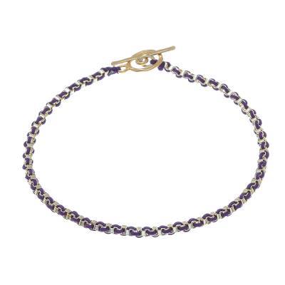Gold Plated Brass Chain Bracelet in Purple from Thailand