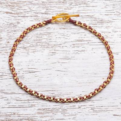 Gold plated brass chain bracelet, 'Golden Day in Red' - Gold Plated Brass Chain Bracelet in Red from Thailand
