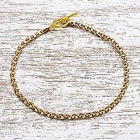 Gold plated brass chain bracelet, 'Golden Day in Brown' - Gold Plated Brass Chain Bracelet in Brown from Thailand