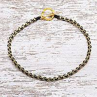 Gold plated brass chain bracelet, 'Golden Day in Black'