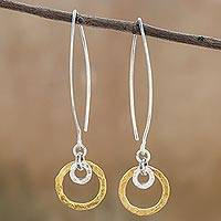 Gold accented silver dangle earrings, 'Patterned Rings' - Gold Accented Silver Dangle Earrings from Thailand