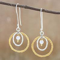 Gold accented chalcedony dangle earrings, 'Cosmos Beauty' - Gold Accented Silver and Chalcedony Dangle Earrings