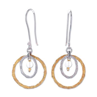 Gold accented chalcedony dangle earrings, 'Cosmos Beauty' - Gold Accented Silver and Chalcedony Dangle Earrings