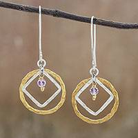 Gold accented amethyst dangle earrings, 'Saturn Orbit' - Gold Accented Silver and Amethyst Dangle Earrings
