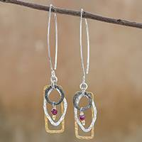 Gold accented silver and garnet dangle earrings, 'Neptune Love' - Gold Accented Silver and Garnet Dangle Earrings