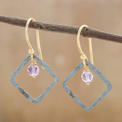 Amethyst dangle earrings, 'Violet Spark' - Amethyst and Sterling Silver Dangle Earrings from Thailand