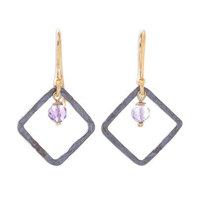 Amethyst and Sterling Silver Dangle Earrings from Thailand