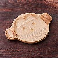 Teakwood serving plate, 'Playful Monkey' - Monkey-Themed Teakwood Serving Plate from Thailand