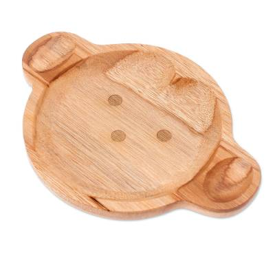 Monkey-Themed Teak Wood Serving Plate from Thailand