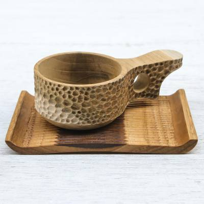 Teakwood cup and saucer, 'Natural Blend in Light Brown' - Handmade Teakwood Cup and Saucer in Light Brown