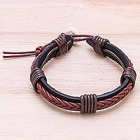 Leather wristband bracelet, 'Perfect Style in Brown'