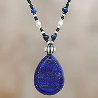 Lapis lazuli beaded pendant necklace, 'Deep Blue Charm'