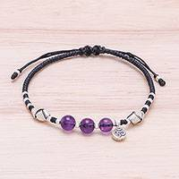 Amethyst beaded bracelet, 'Pretty Om'