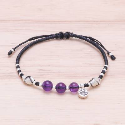 Amethyst beaded bracelet, 'Pretty Om' - Amethyst Beaded Om Bracelet from Thailand