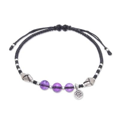 Amethyst beaded bracelet, 'Pretty Om' - Amethyst Beaded Om Bracelet from Thailand