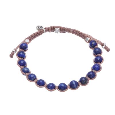 Lapis Lazuli Om Beaded Macrame Bracelet from Thailand