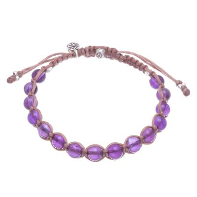 Amethyst beaded macrame bracelet, 'Om Belief' - Amethyst Om Beaded Macrame Bracelet from Thailand