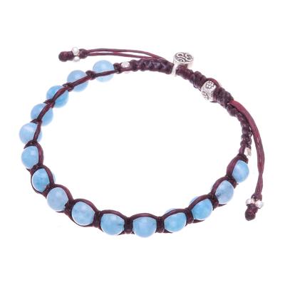 Quartz beaded macrame bracelet, 'Om Belief' - Quartz Om Beaded Macrame Bracelet from Thailand