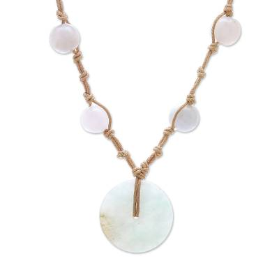 Jade and Quartz Pendant Necklace from Thailand