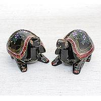 Wood decorative boxes, 'Turtle Couple' (pair) - Hand-Painted Floral Wood Decorative Turtle Boxes (Pair)